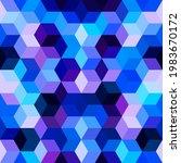 hexagon grid blue seamless...