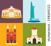 Ho Chi Minh city destination icons.  - stock vector