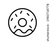 donut vector icon in outline...