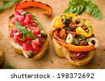 vegan food  bruschetta with... | Shutterstock . vector #198372692