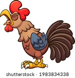 crowing cartoon rooster with...   Shutterstock .eps vector #1983834338