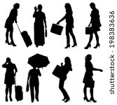 vector silhouette of women on a ... | Shutterstock .eps vector #198383636