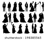 big set of black silhouettes of ... | Shutterstock . vector #198385565
