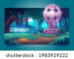 halloween cartoon landing page  ...   Shutterstock .eps vector #1983929222