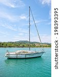 Dirty looking sailing boat in need of cleaning and repair - stock photo