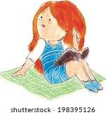 cute girl sitting on a carpet... | Shutterstock .eps vector #198395126