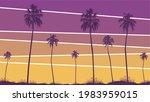 summer sunset beach. palm tree... | Shutterstock .eps vector #1983959015