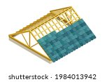framed roof as house top... | Shutterstock .eps vector #1984013942