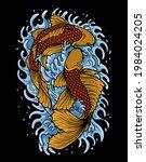 Illustration Two Koi Fish...