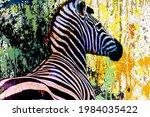 Colorful Artistic Zebra Muzzle...
