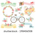 spring bicycle with flowers | Shutterstock .eps vector #198406508