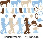 cowboy silhouettes | Shutterstock .eps vector #198406538