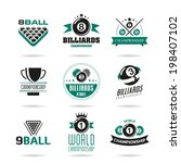 Billiards And Snooker Icons Se...