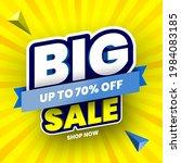 big sale banner on yellow... | Shutterstock .eps vector #1984083185