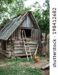hen and old hayloft in a...