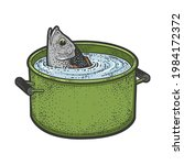 Fish Peeks Out Of A Pot Of...