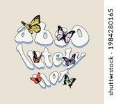 70s retro groovy hippie slogan...   Shutterstock .eps vector #1984280165