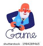 grandfather gamer. an elderly... | Shutterstock .eps vector #1984289465