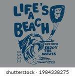 Vector Lion Surfer Comic...