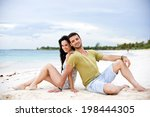 young couple sitting back to... | Shutterstock . vector #198444305