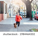Happy Little Boy Running With...