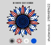 4th Of July 3d Sunflower With...