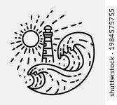 beach nature lighthouse...   Shutterstock .eps vector #1984575755