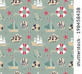 seamless pattern with summer... | Shutterstock .eps vector #198458438