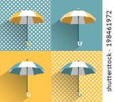 colored umbrellas. flat vector... | Shutterstock .eps vector #198461972