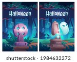 halloween poster with ghosts on ... | Shutterstock .eps vector #1984632272