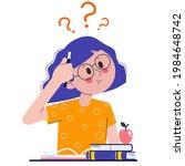a schoolgirl in class or in an... | Shutterstock .eps vector #1984648742