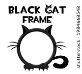black round cat frame  cartoon...