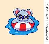 cute koala swimming summer... | Shutterstock .eps vector #1984703312