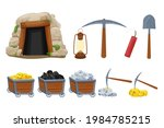 set mine tools  equipment in...