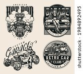 monochrome vintage custom cars... | Shutterstock .eps vector #1984892495
