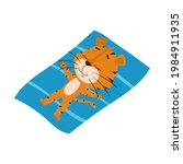 the tiger is sunbathing in the... | Shutterstock .eps vector #1984911935