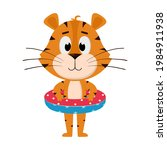 a tiger stands with an... | Shutterstock .eps vector #1984911938