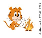 tiger roasts marshmallows on a... | Shutterstock .eps vector #1984912925