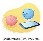 mobile phone piggy bank... | Shutterstock .eps vector #1984929788