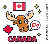 funny cartoon moose with saying ... | Shutterstock .eps vector #1984938095