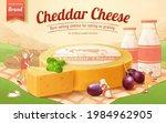 cute 3d cheddar cheese banner... | Shutterstock .eps vector #1984962905