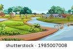 a small river flows through the ... | Shutterstock .eps vector #1985007008