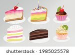 cake cheesecake pieces and... | Shutterstock .eps vector #1985025578