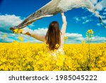 beautiful woman with wind... | Shutterstock . vector #1985045222