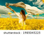 beautiful woman with wind... | Shutterstock . vector #1985045225