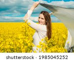 beautiful woman with wind... | Shutterstock . vector #1985045252