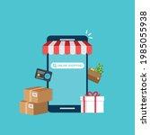 smartphone online shopping....   Shutterstock .eps vector #1985055938