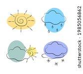 weather doodle vector set....   Shutterstock .eps vector #1985056862
