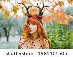 Fairy Woman With Deer Horns In...