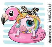 cute cartoon unicorn swimming... | Shutterstock .eps vector #1985101658